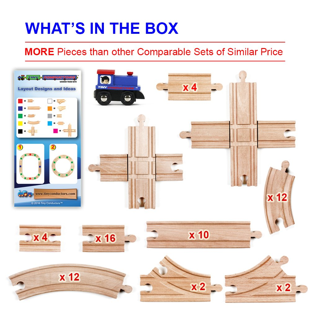 67 piece wooden train track set with train car by tiny conductors 100 real ebay. Black Bedroom Furniture Sets. Home Design Ideas
