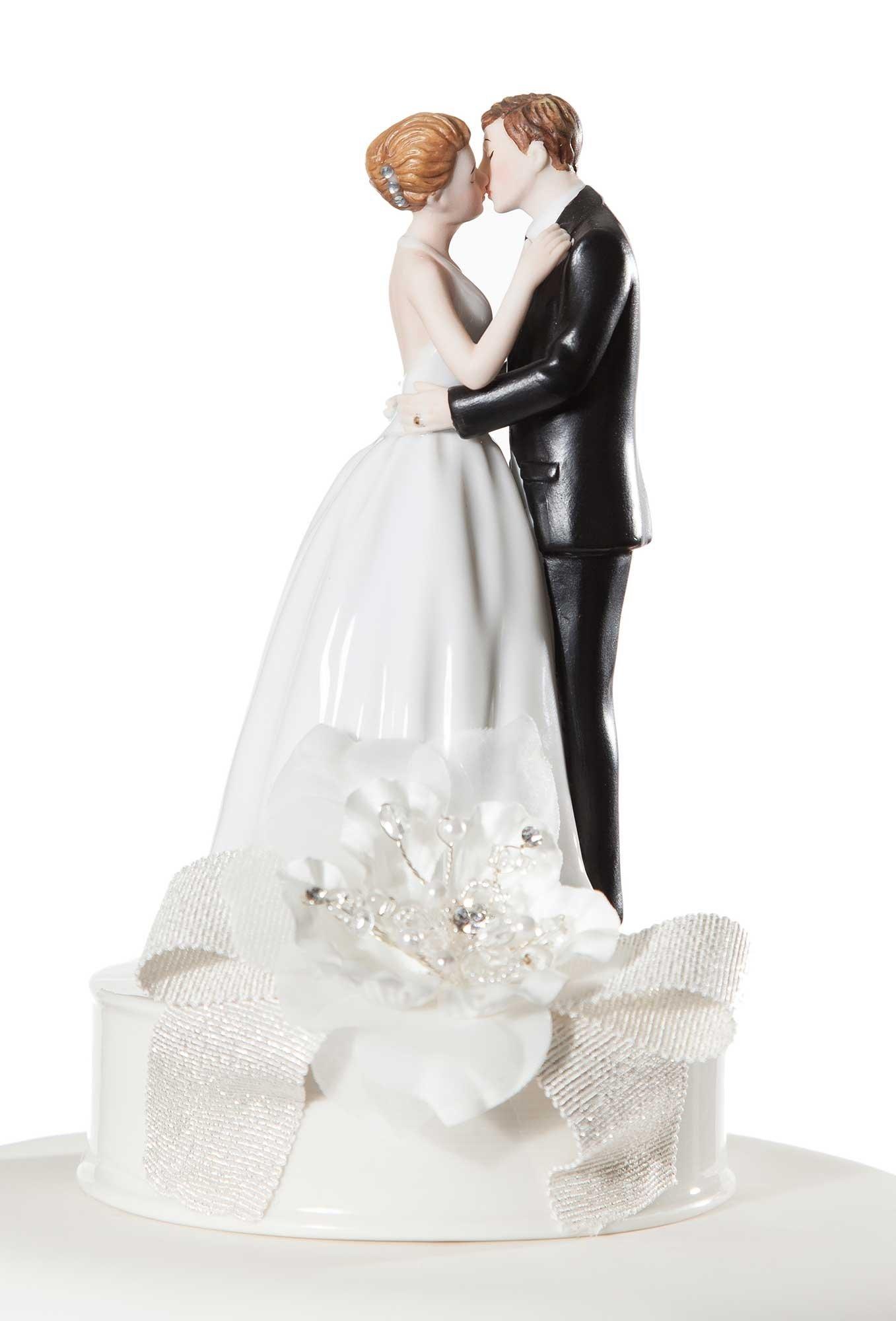 Wedding Collectibles Romance Ribbon Accent Cake Topper - White Ribbon