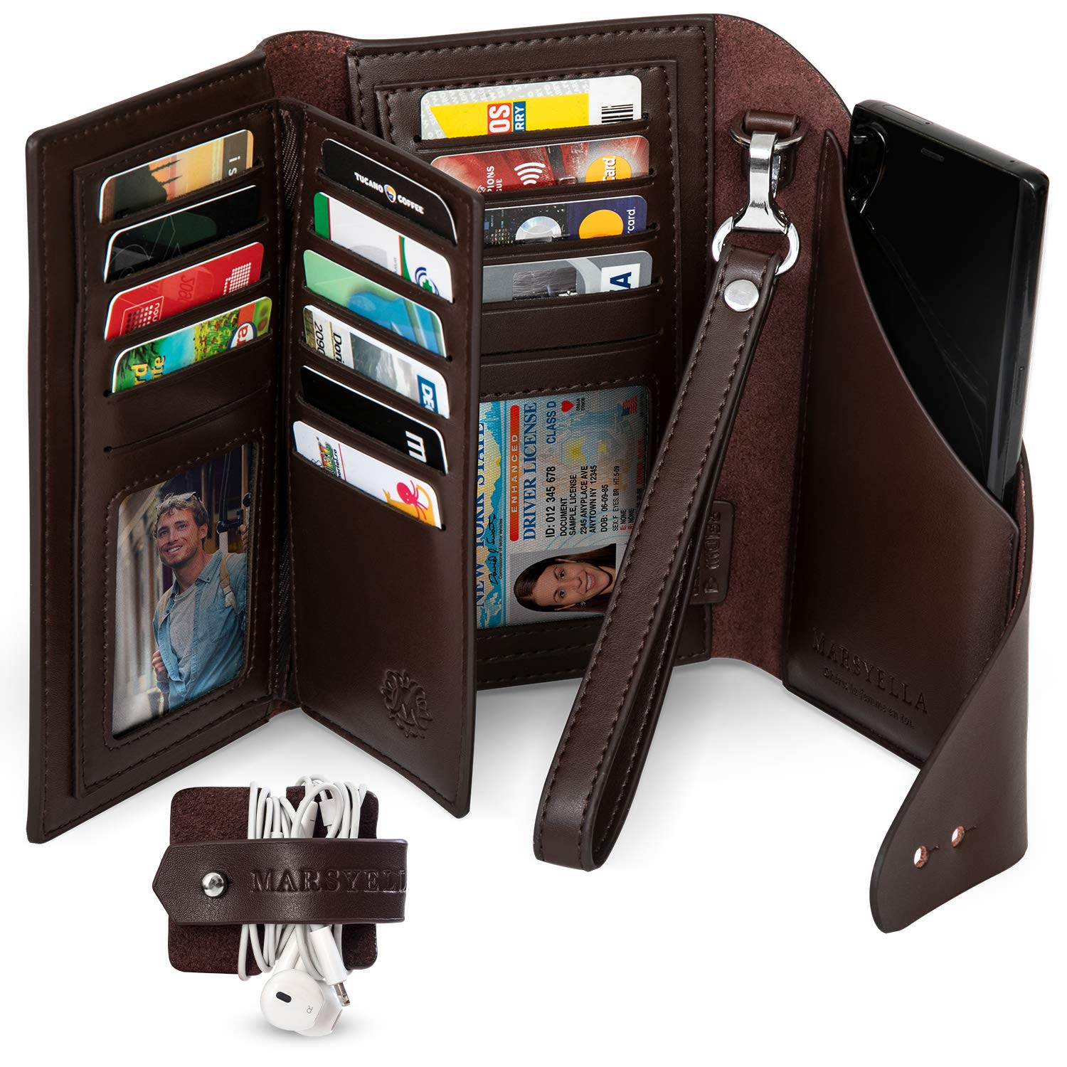Marsyella RFID Wallet for Women with Wrist Strap - Credit Card & Passport Holder for Women - Large Brown Wristlet Wallet with Cell Phone Holder included by M MARSYELLA