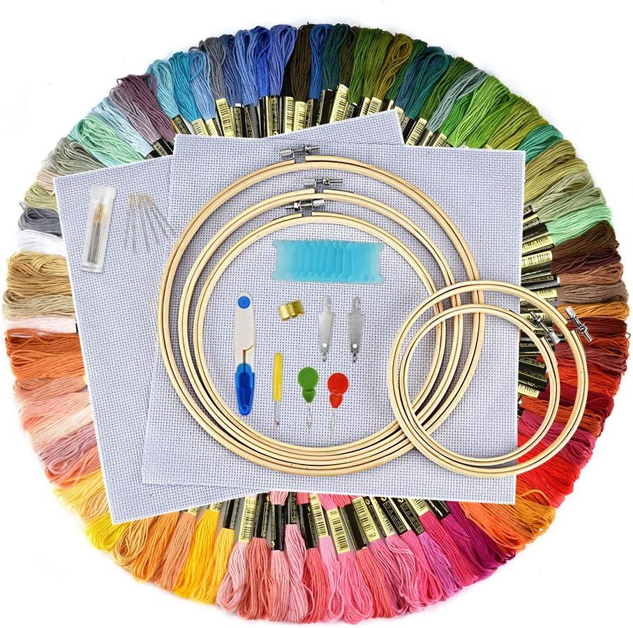 Elucku - Kit de Punto de Cruz para Principiantes (100 Hilos de Colores, 5 Marcos de bambú, 12 de 18 Pulgadas, 14 Puntas, Juego de Agujas y Agujas)
