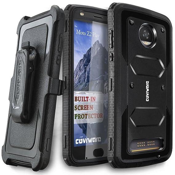 promo code 344b7 802af Moto Z2 Play / Z2 Force Case, COVRWARE [Aegis Series] w/Built-in [Screen  Protector] Heavy Duty Full-Body Rugged Holster Armor Case [Belt Swivel ...