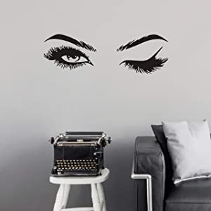 Fashionista Girl Wink Wall Decal with Beautiful Charming Eyelashes, Easy Peel and Stick Woman Mural Vinyl Art Decor for Living Room Bedroom(Y38) (Small)