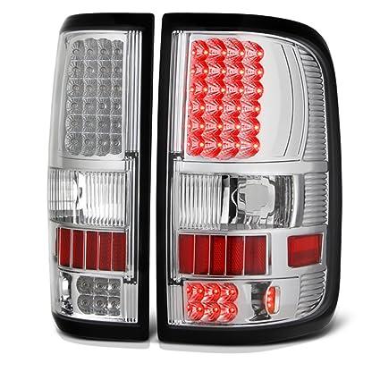 Ford F150 04-08 Left//Right Rear Brake LED Tail Light Chrome Housing Red Lens