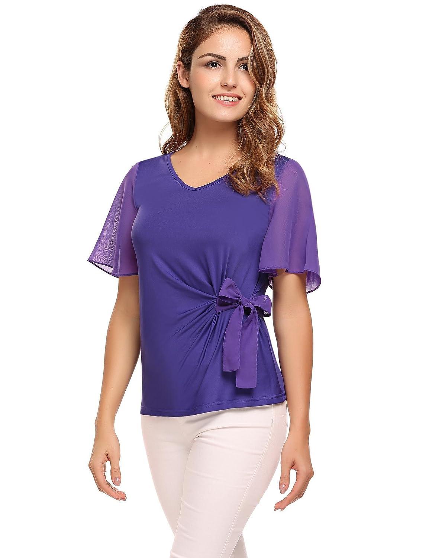 Meaneor Damen Elegant Bluse Sommershirt Kurzarm Batwing T-Shirt Chiffon Top  Fledermaus mit Bogen Binden V-Ausschnitt Casual Oberteile  Amazon.de   Bekleidung a0a7e570ef