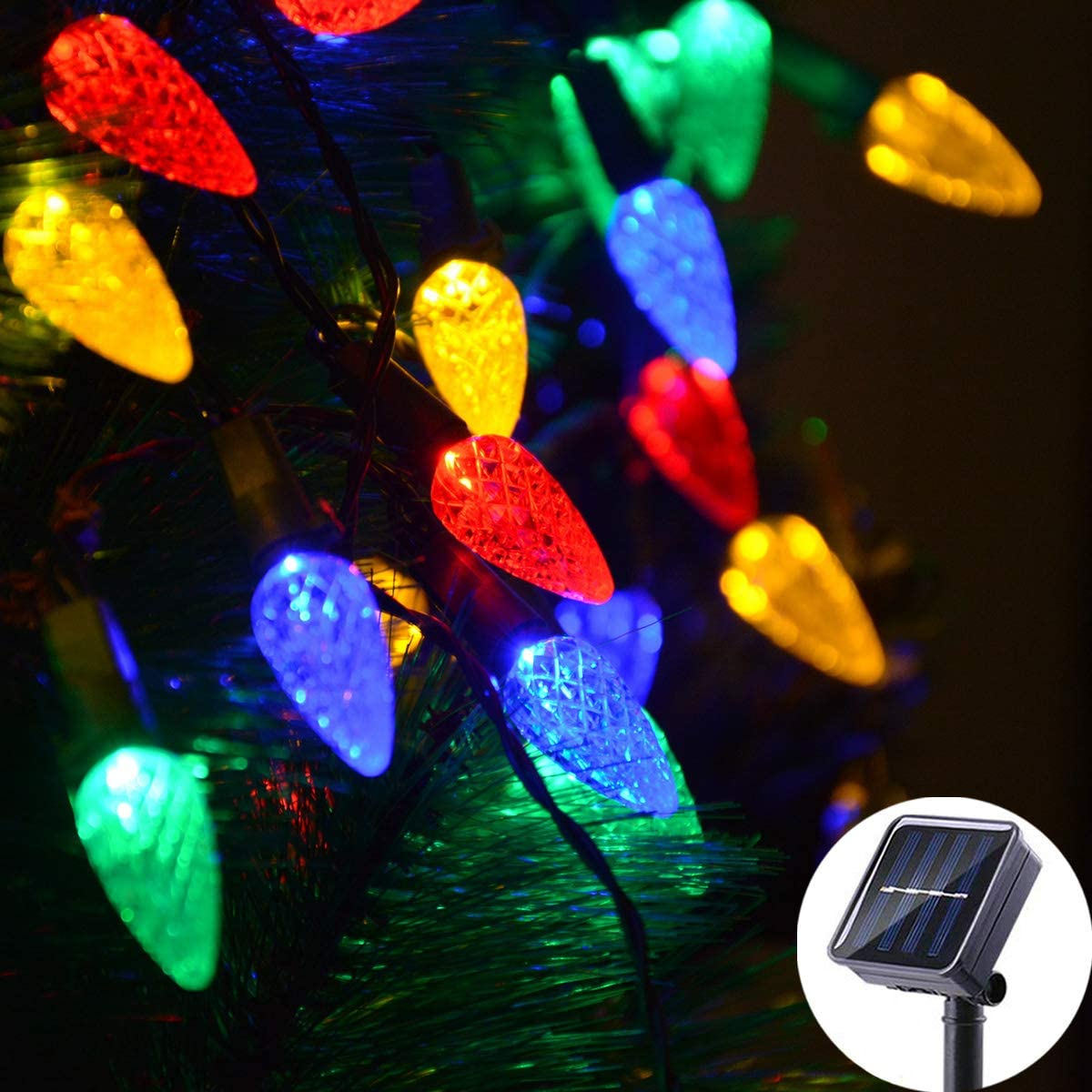 Solar Christmas Lights Outdoor C6 Strawberry String Lights, LED Christmas Fairy Lights 50 LEDs Solar Operated Rechargeable Garden Lights for Christmas Tree, Holiday, Arbor Decor Multicolor, 8 Modes