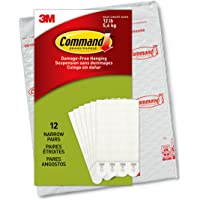 Command Narrow Picture Hanging Strips, White, 12-Pairs (PH207-12NA)