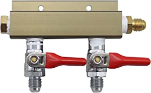 The Weekend Brewer 2-way MFL CO2 Splitter Distributor Manifold with integrated check valves