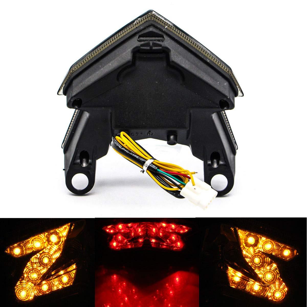 MZS Tail Light LED Turn Signal Blinker Integrated compatible Kawasaki Ninja ZX6R ZX-6R 2013-2018// Z125 2016-2017// Z125 Pro 2017-2018// Z800 2013-2017 Smoke
