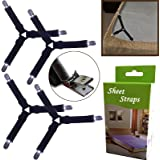 BSLINO 4pcs/set Triangle Sheet Band Straps Suspenders Adjustable Fitted Bed Sheet Corner Holder Elastic Straps Fasteners Clips Grippers Mattress Pad Cover Fitted Sheet Bed Suspenders HEAVY DUTY
