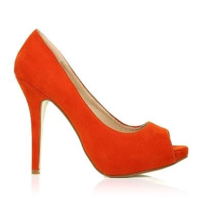 TIA - Pumps Orange Violett Kunstwildleder Stilettos Mit Plateau Und Hohem Absatz - Orange Wildleder, Synthetik, EU 39