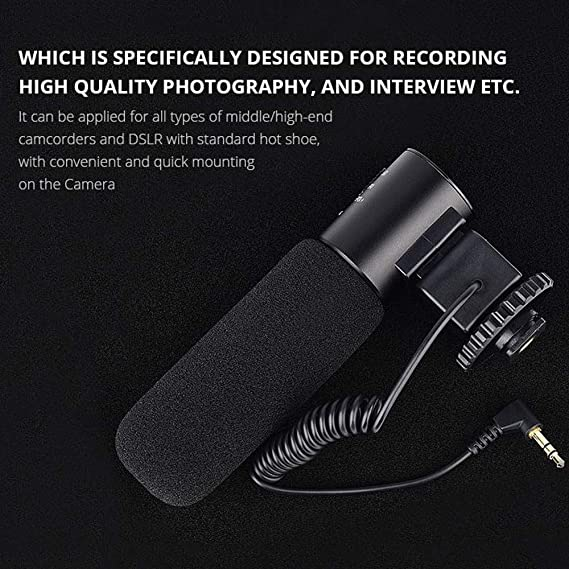 3.5mm Interface Camcorders. Nikon Canon,DSLR Cameras HWENJ Camera Microphone Video Mic Photography Interview MIC Microphone,Stereo Camcorder Microphone Compatible Sony