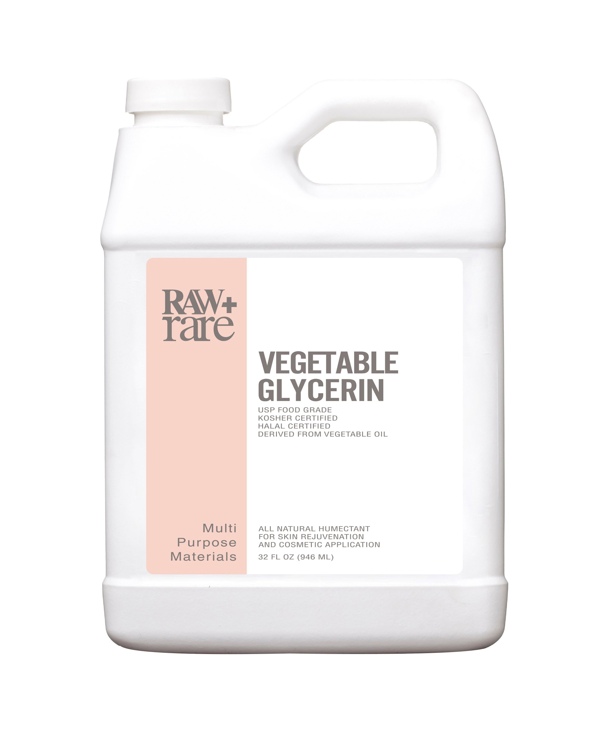 Vegetable Glycerin/Glycerine Quart (32 fl. oz.), Natural Pure USP Food Grade/Cosmetic Grade, For Skin, Hair, Crafts, Soap Base Oil - Kosher, Halal and Pharmaceutical for by Raw Plus Rare