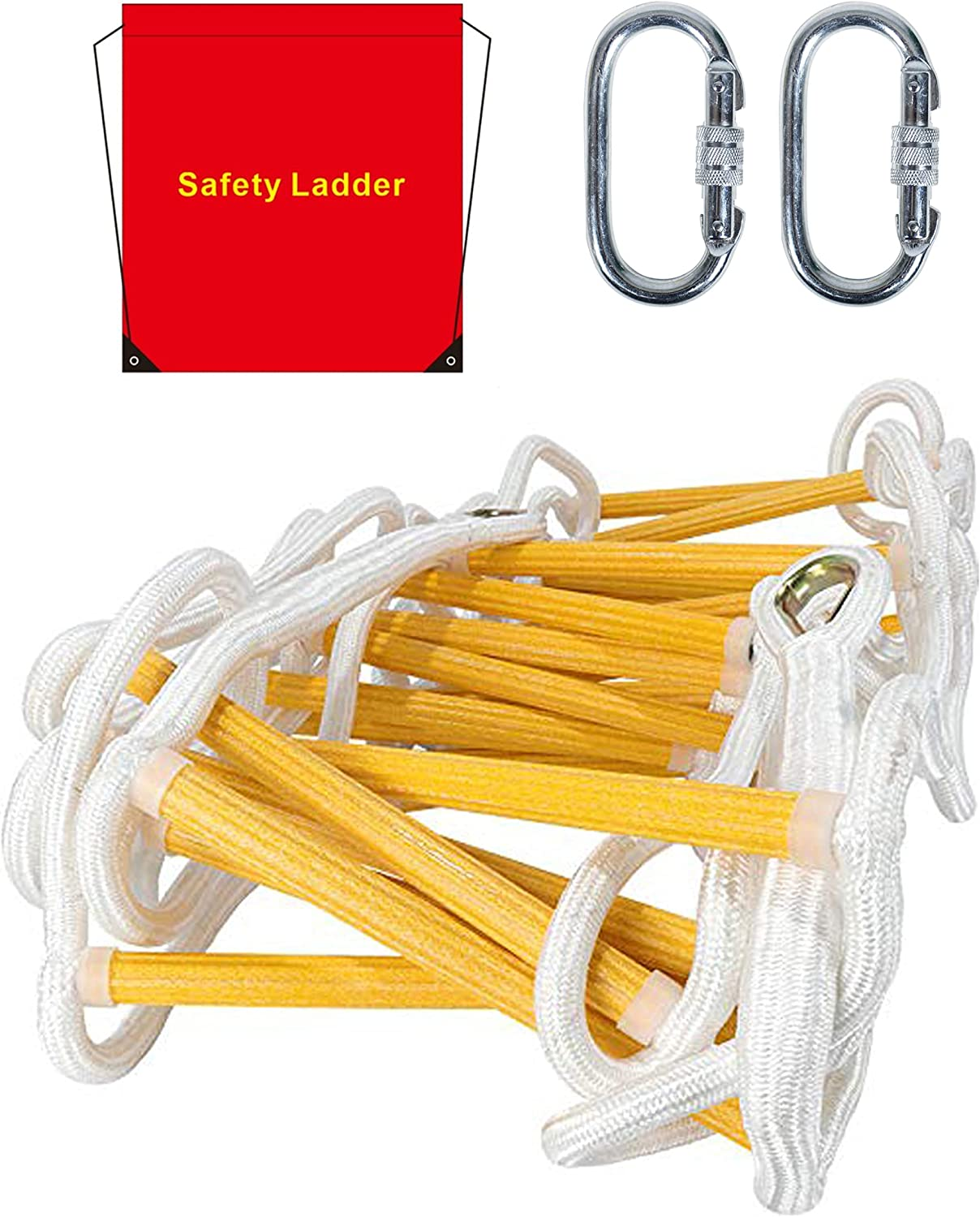 Emergency Fire Escape Ladder Flame Resistant Safety Rope Ladder with Hooks Fast to Deploy & Easy to Use Compact & Easy to Store Withstand Weight up to 900 pounds (13ft