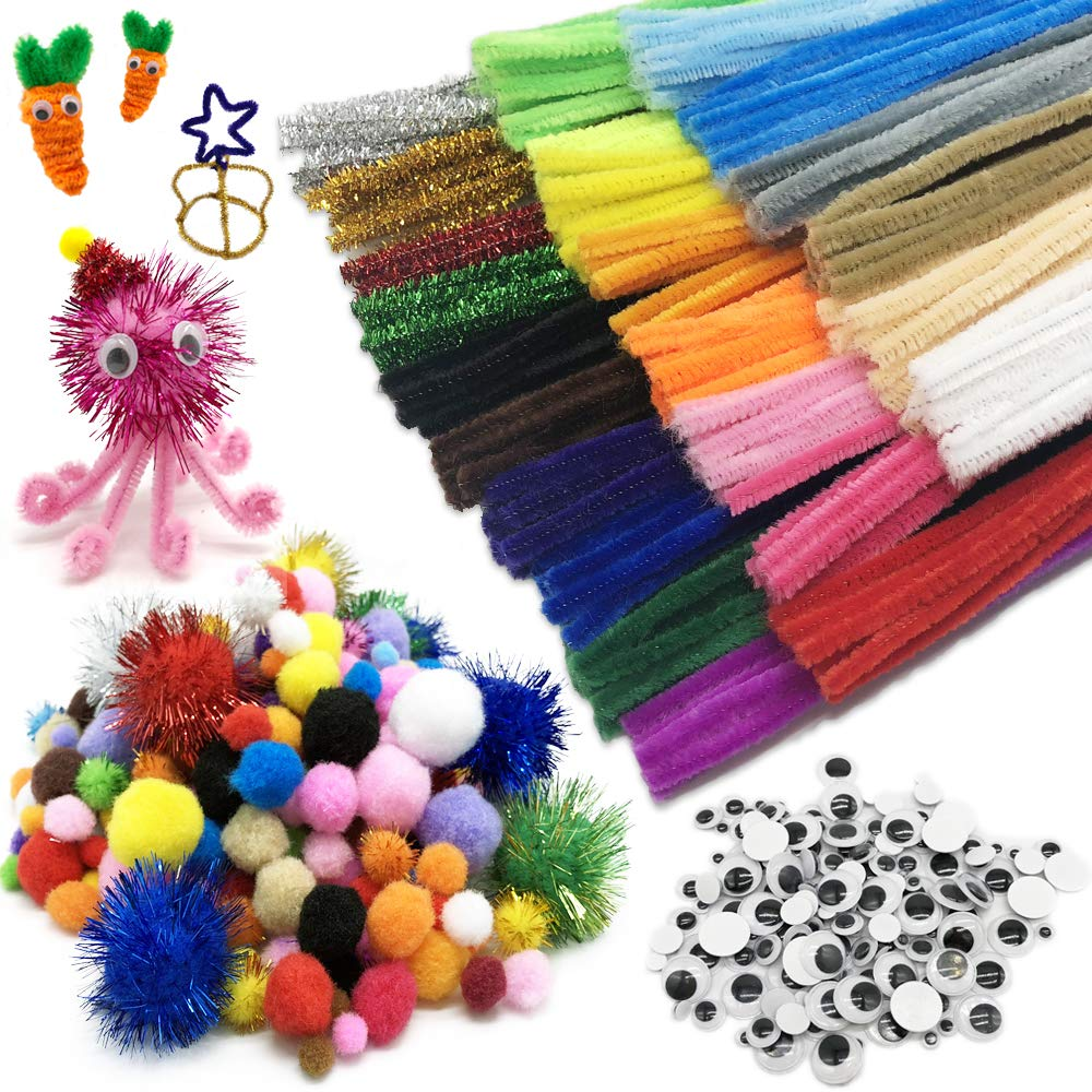 700 Pieces Pipe Cleaners Set, Including 250 Pieces Pipe Cleaners, 300 Pieces 6 Size Pom Poms and 150 Pieces 3 Size Wiggle Googly Eyes for Craft DIY Art Supplies