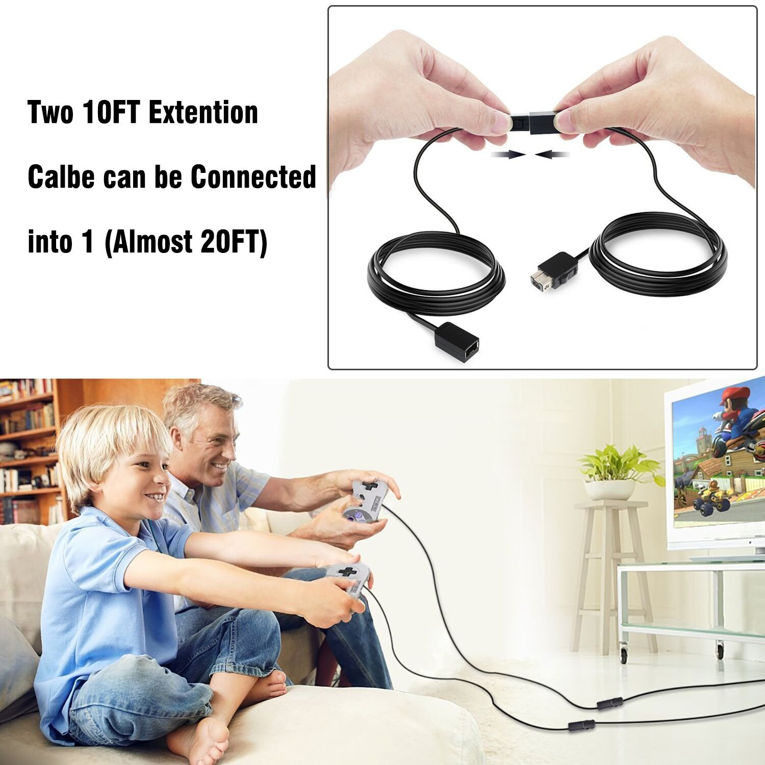 SNES Classic Controller Extension Cable, 2-PACK 3M/10ft Extension Cord Extender for Nintendo Super NES Classic Edition (2017) and Mini NES Classic Edition Controller (2016)