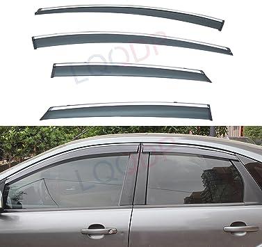 LQQDP 4pcs Smoke Tint With Chrome Trim Outside Mount Tape On//Clip On Style PVC Sun Rain Guard Vent Shade Window Visors Fit 12-18 Ford Focus