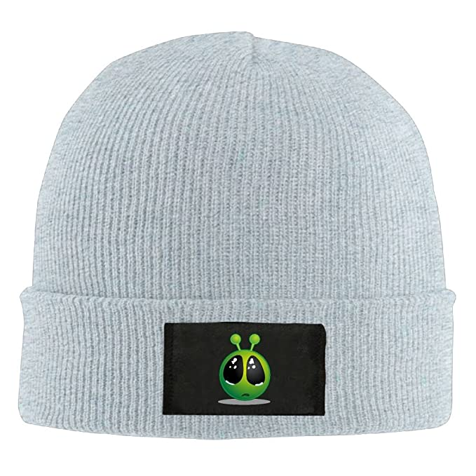eebbdcf3a0f Men Women Smiley Green Alien Big Eyes Warm Stretchy Solid Daily Skull Cap  Knit Wool Beanie Hat Outdoor Winter at Amazon Men s Clothing store