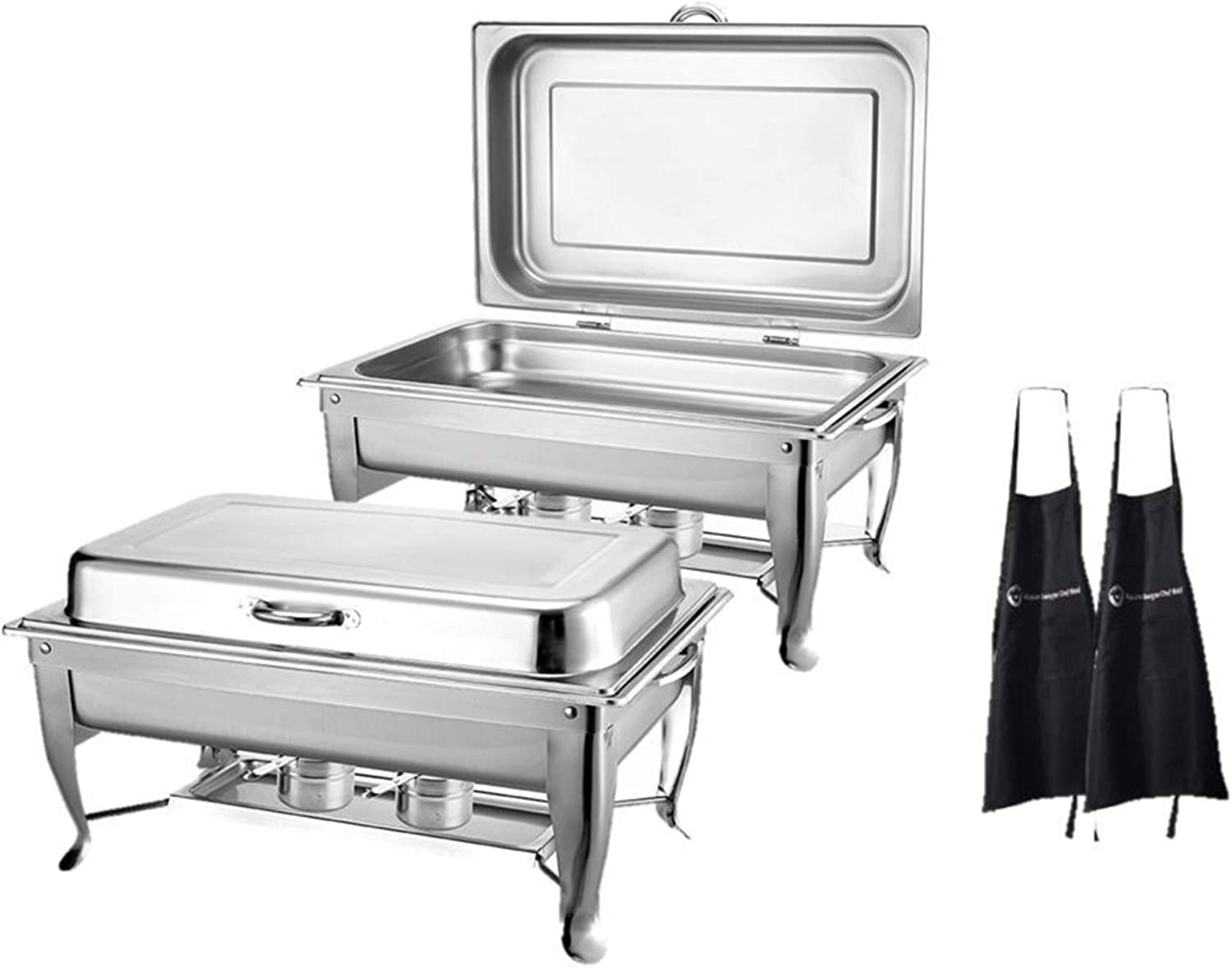 2 Pack| 8 Qt Delux Hinged Chafing Dish Foldable Frame Buffet Chafer Stainless Steel Food Warmer and 2 Aprons