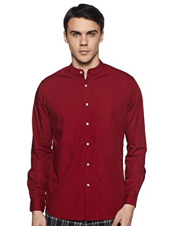 3a6f4a5a Dennis Lingo Men's Solid Chinese Collar Maroon Casual Shirt: Amazon ...