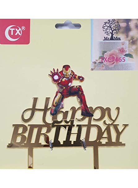 Awesome Buy Cake Decor Mirror Acrylic Happy Birthday Cake Topper Iron Man Funny Birthday Cards Online Fluifree Goldxyz