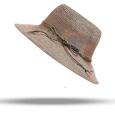 63a024939 Lady Boater Sun Caps Ribbon Round Flat Top Straw Beach Hat Panama ...
