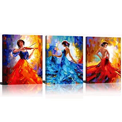 Canvaszon Dancing Woman Canvas Art Print Red Tango Picture Abstract Sexy Lady Wall Art Music Painting Violin For Living Room 12x16inchx3pcs