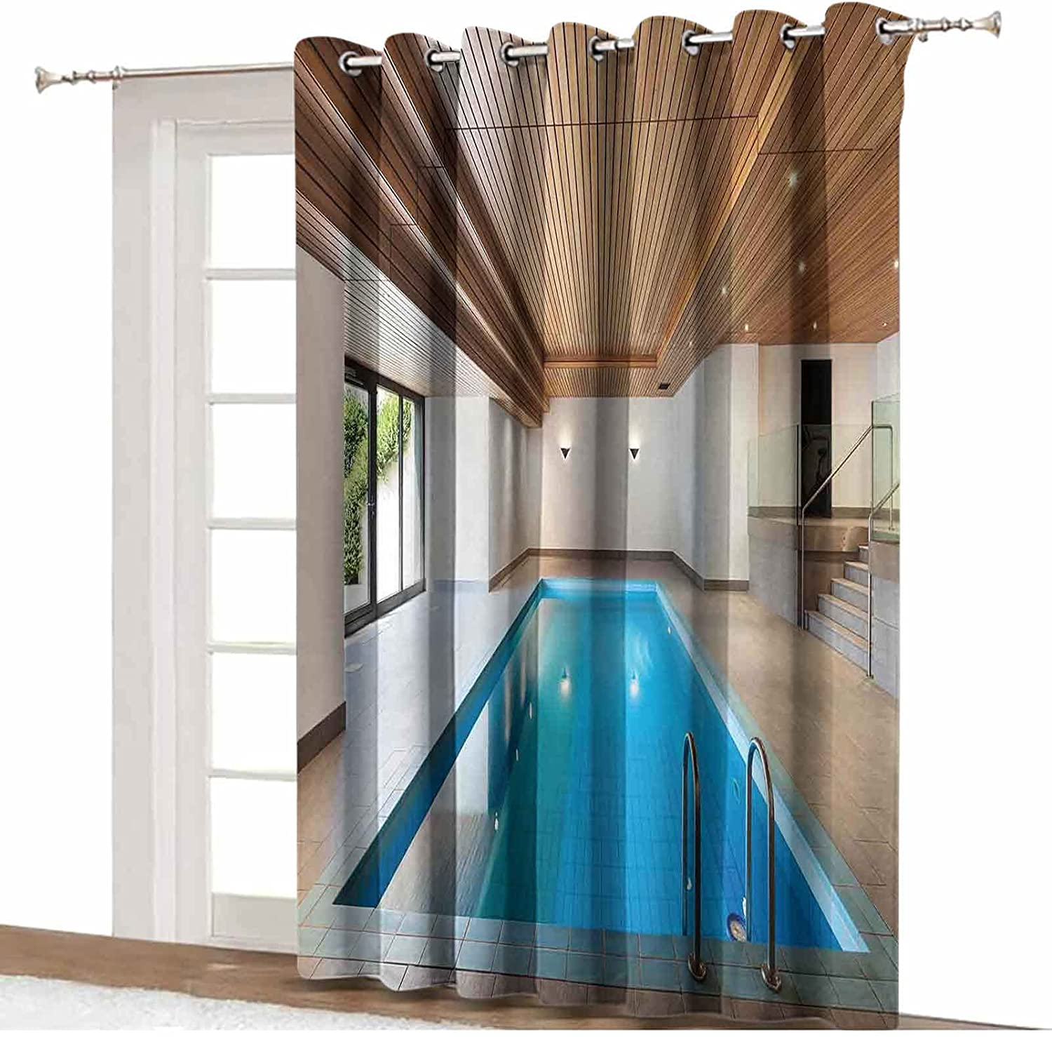 Lyzelre House Decor Room Divider Curtain,Apartment with Indoor Pool Wooden Ceiling Private Resident Stylish Home Perspective Room Divider Curtain Screen Partition,12'x8',for Bedroom Partition