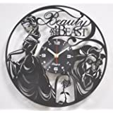 Beauty And the Beast Vinyl Wall Clock Disney Vinyl Art Kids Room Decor Home Decorations Lovely Black Record Vinyl Clock Gift for Girls and Boys Vintage Wall Decoration Unique Art Design