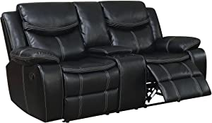 Furniture of America Reclining Console Loveseat, Black