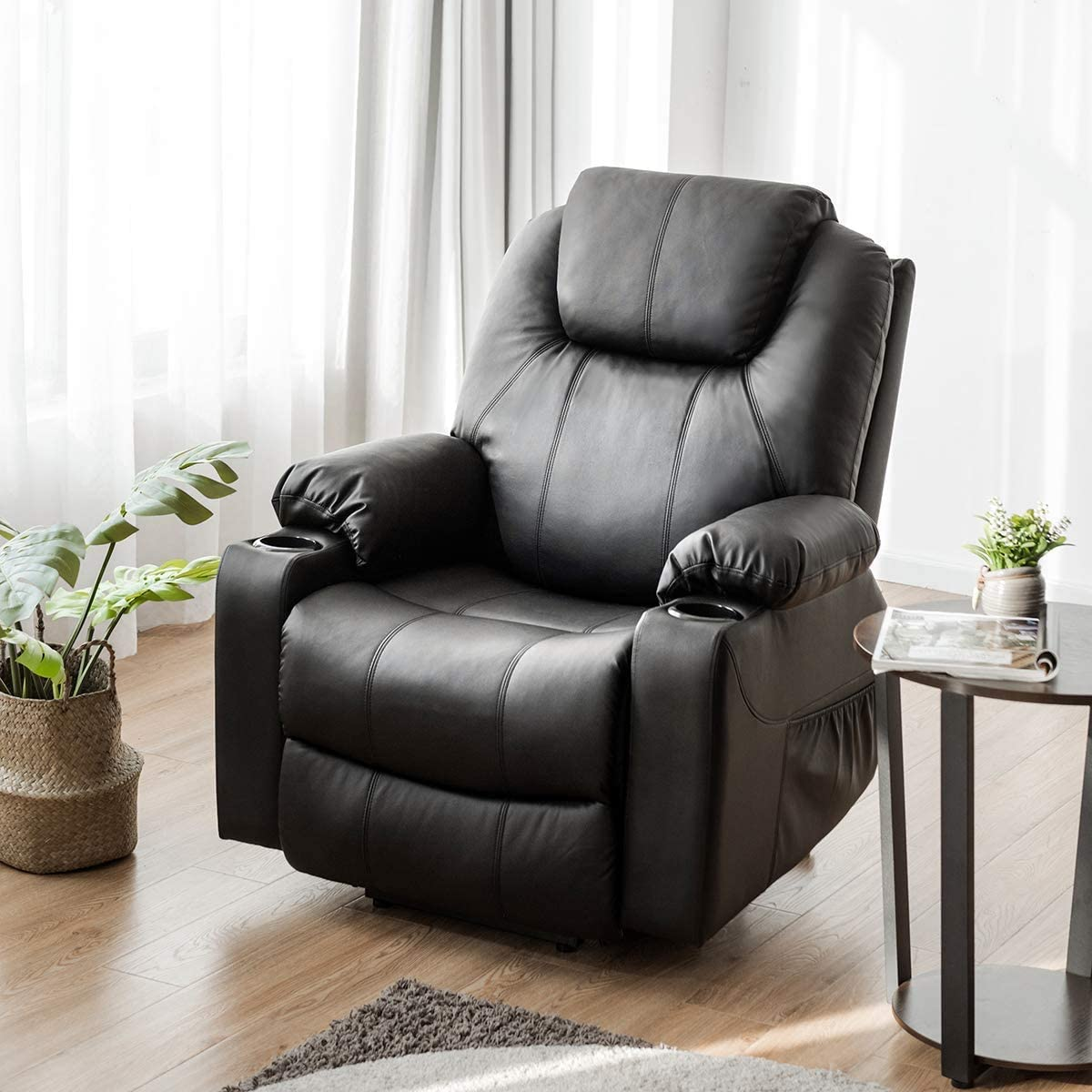 Giantex Power Lift Recliner Chair for Elderly, Faux Leather Electric Recliner w Massage and Heating, 3 Positions, Side Pockets and Cup Holders, USB Ports, Remote Control, Motorized Home Theater Seat