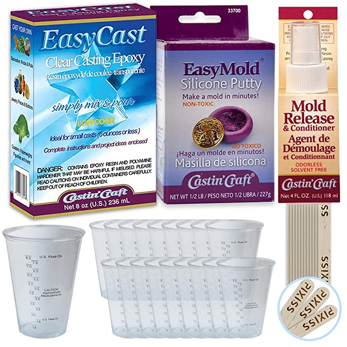 Amazon.com: EasyMold, EasyCast, Mold Release Bundle - 1/2-Pound Kit Casting Craft EasyMold Silicone Putty, 8-Ounce Clear EasyCast Casting Epoxy, ...
