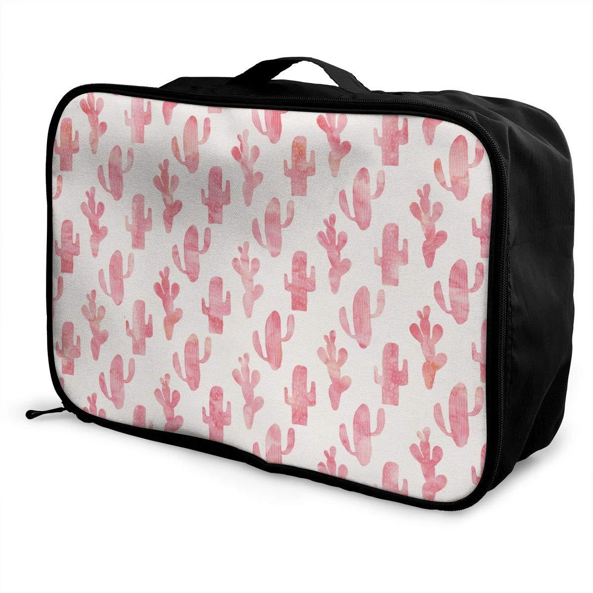 Women /& Men Foldable Travel Duffel Bag Pink Cactus Pattern For Luggage Gym Sports