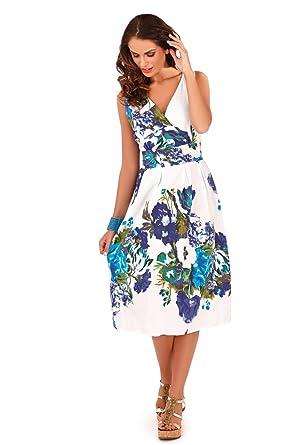 23976f7057f2 Lora Dora Womens 100% Cotton Floral Summer Dress: Amazon.co.uk: Clothing
