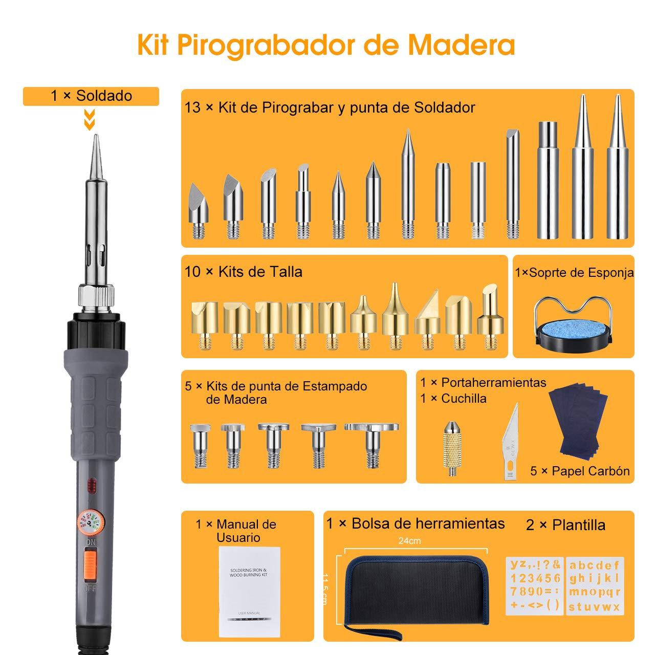 Holife 41 PCs Kit de Pirograbador de Madera, 220V/60W Temperatura Ajustable, 140cm Cable de Carga, 5 Papeles de Copia + 2 Plantillas,Soldador Pirografo ...