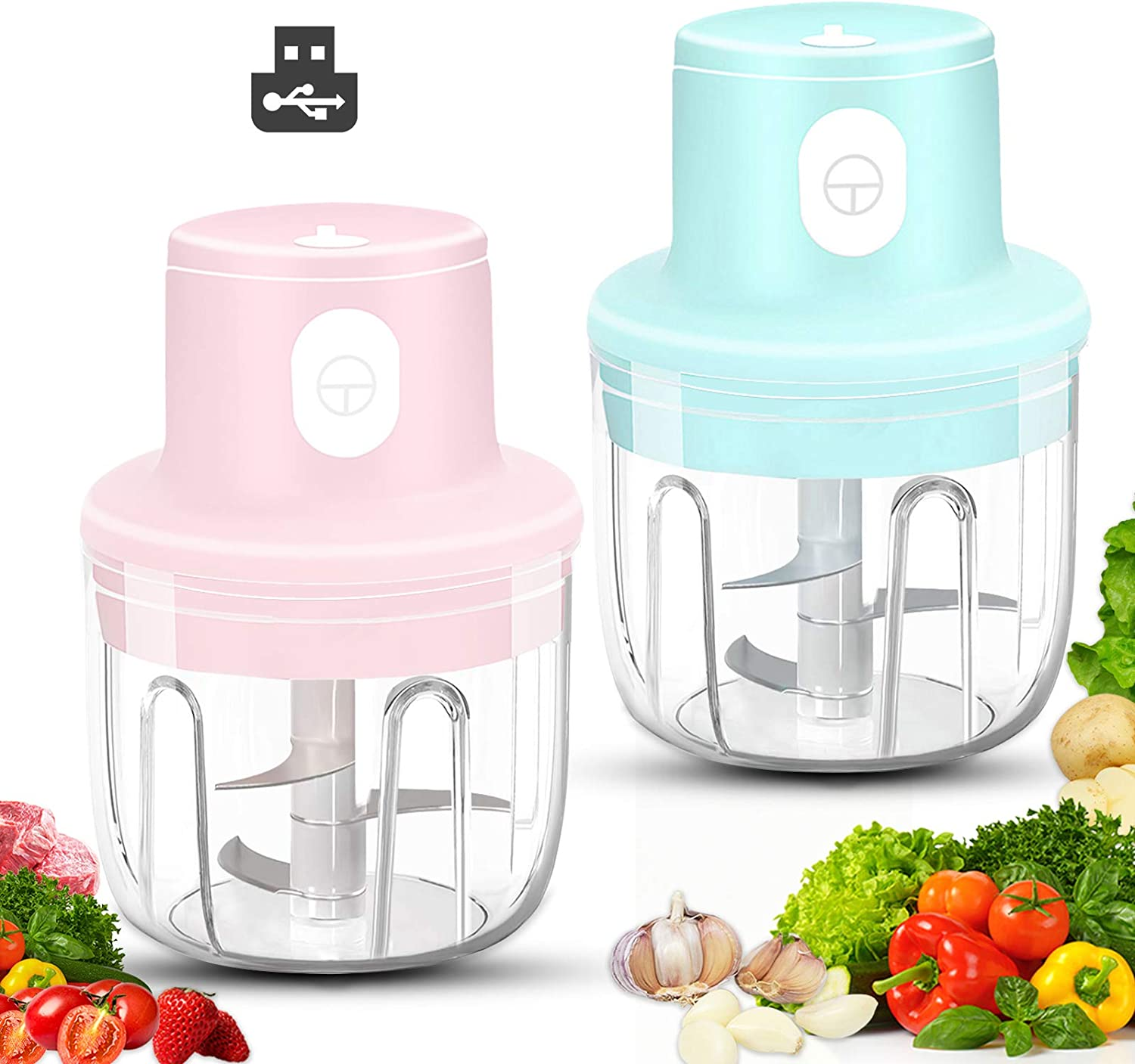 Wireless Mini Garlic Chopper, 2 Pack Electric Small Food Processor, 250ML Portable Food Chopper for Onion Vegetables Meat Baby Food Ginger Pepper Nut