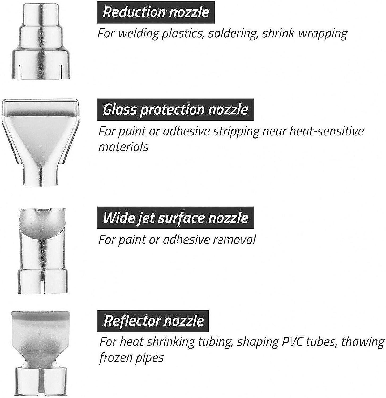4 vielseitig einsetzbarem Vorsatzd/üsen-Set 600 /°C inkl 2000W Hei/ßluftgebl/äse Hei/ßluftpistole Hei/ßluftf/öhn max
