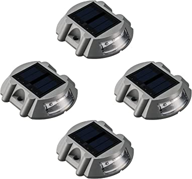 Solar Deck Lights LED Marker Sunwind 4 Pack Road Stud Lights Die Casting Aluminum Solar Powered Outdoor LED Pathway Road Driveway Lights for Garden Path Stair Fence Driveway Road Lighting Blue