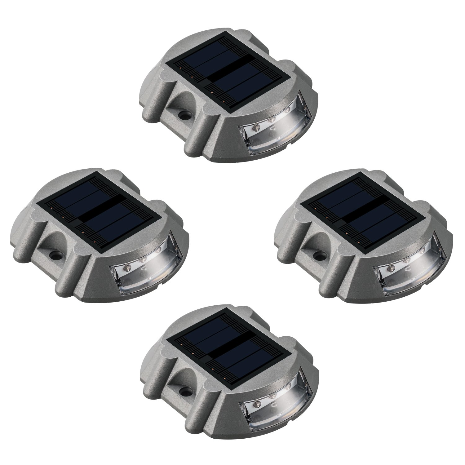 Solar Deck Lights LED Marker - Sunwind 4 Pack Road Stud Lights Die Casting Aluminum Solar Powered Outdoor LED Pathway Road Driveway Lights for Garden Path Stair Fence Driveway Road Lighting (Blue)