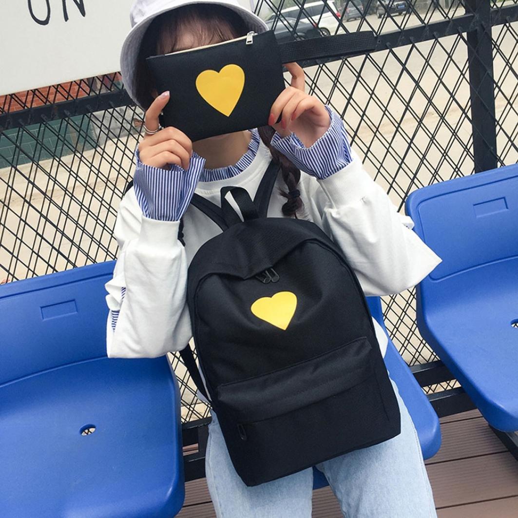 Travel Backpack ,Creazy Women Girl Fashion Love Print Preppy Style School Bag Travel Backpack Bag+Wallet (Black) by Creazydog (Image #8)