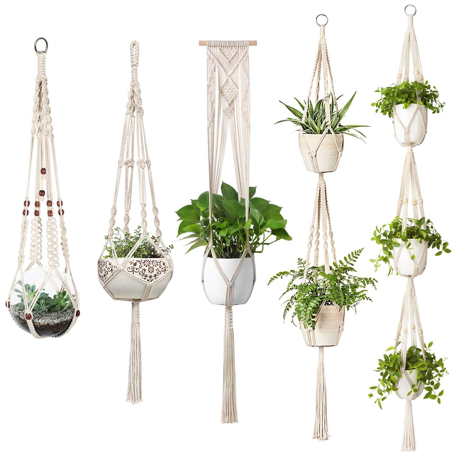 Mkono Macrame Plant Hangers, 5 Pack Different Tiers Indoor Hanging Planters Set Flower Pots Holder Stand Boho Home Decor