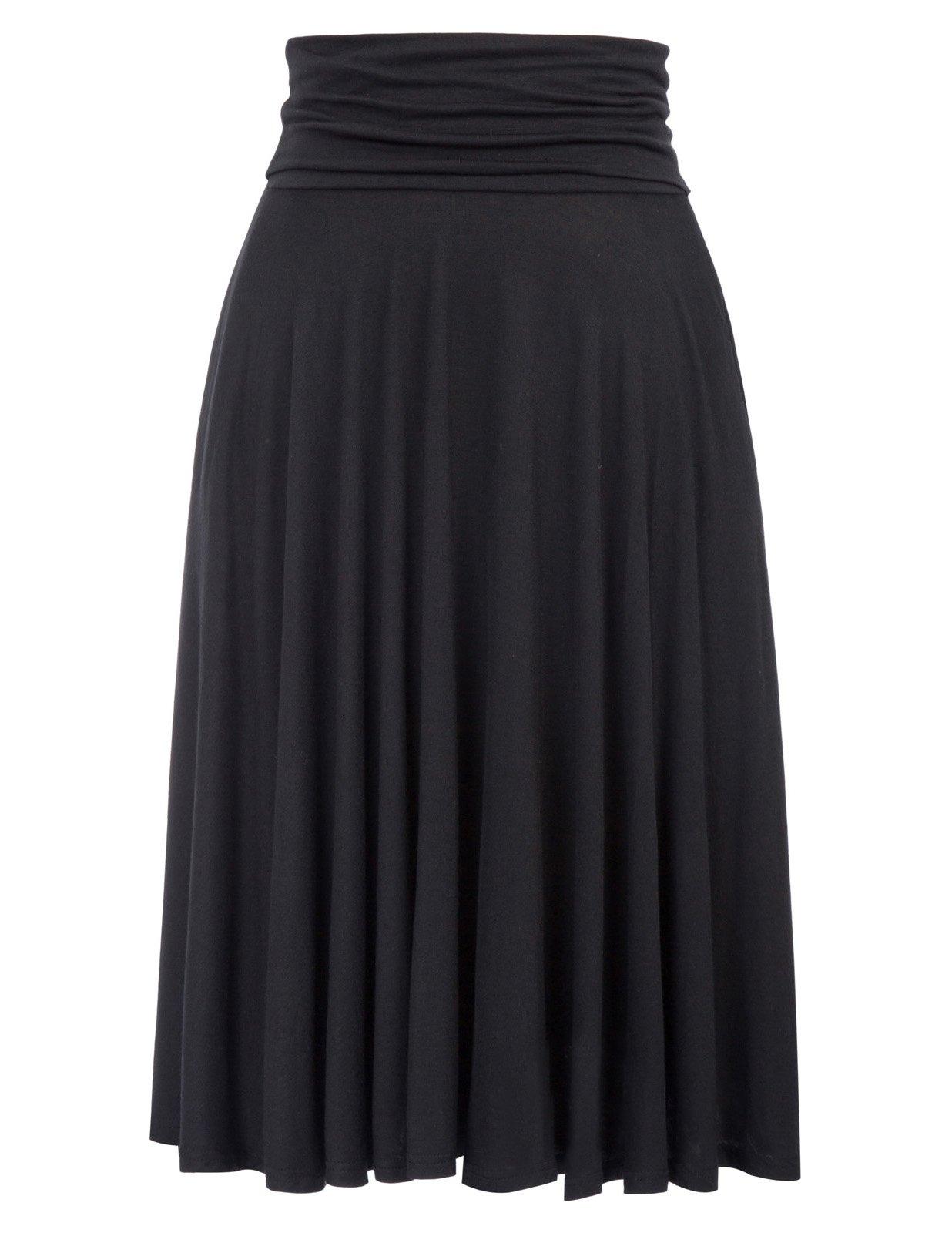 Kate Kasin Stretchy High Waist Midi Skirts for Women Knee Length (L,Black)
