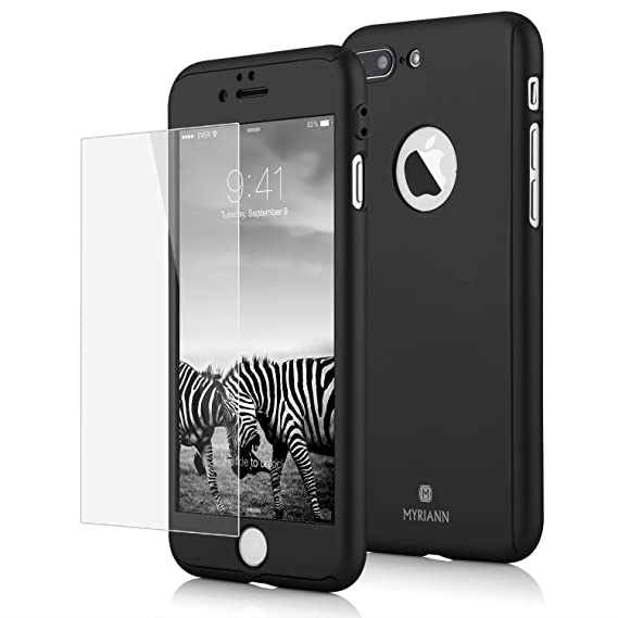low priced 7e4b1 091df iPhone 7 Plus Case,Lavince Full Body Protection Hard Slim Cover[Dual  Layer]with Tempered Glass Screen Protector for iPhone 7 Plus 5.5inch(Black)