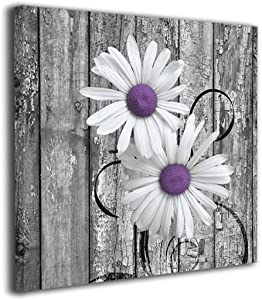 Colla Canvas Wall Art Print Purple Gray Rustic Daisy Flowers Giclee Print Gallery Wrap Modern Home Decor Stretched & Ready to Hang 12x12 Inches