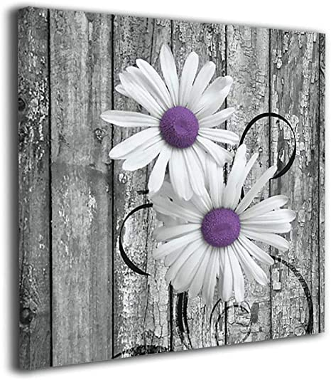 Amazon Com Colla Canvas Wall Art Print Purple Gray Rustic Daisy Flowers Giclee Print Gallery Wrap Modern Home Decor Stretched Ready To Hang 12x12 Inches Posters Prints