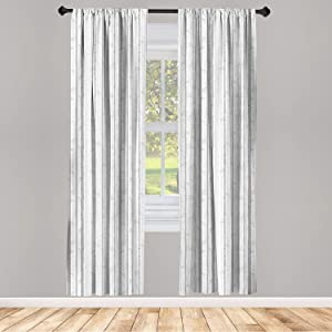 Ambesonne Grey and White 2 Panel Curtain Set, Birch Tree Grove Leafless Branches Winter Woodland Illustration, Lightweight Window Treatment Living Room Bedroom Decor, 56