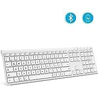 Jelly Comb Bluetooth Tastatur, Ultra-Dünn wiederaufladbare kabellose Tastatur Full-Size Multi-Device Funktastatur kompatibel für iPad, iPhone, Android-Tablets, Windows, iOS, Mac OS