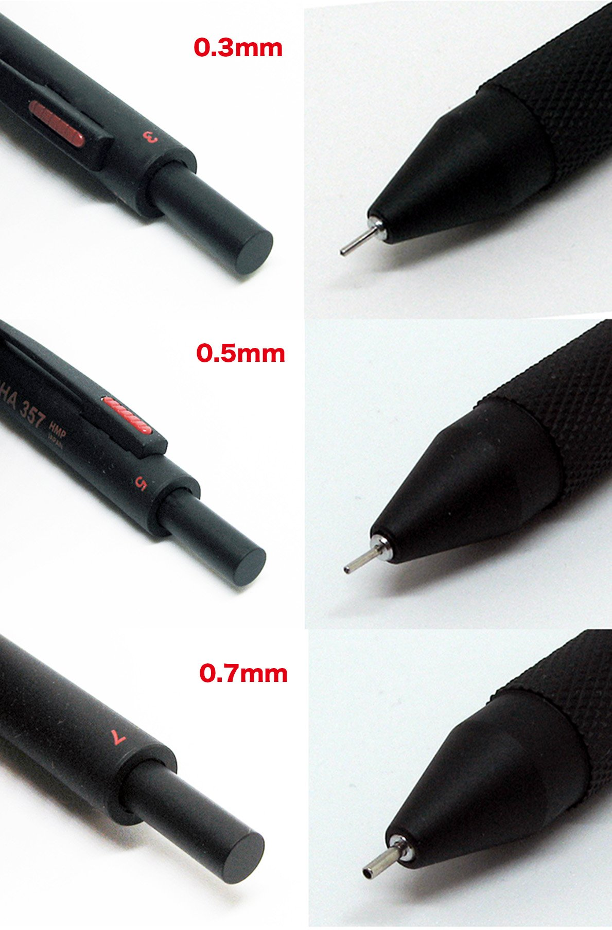 57 POWERS MECHA 357 Multi Mechanical Pencil 3in1 0.3mm 0.5mm 0.7mm Japan (BLACK) by HMP (Image #5)