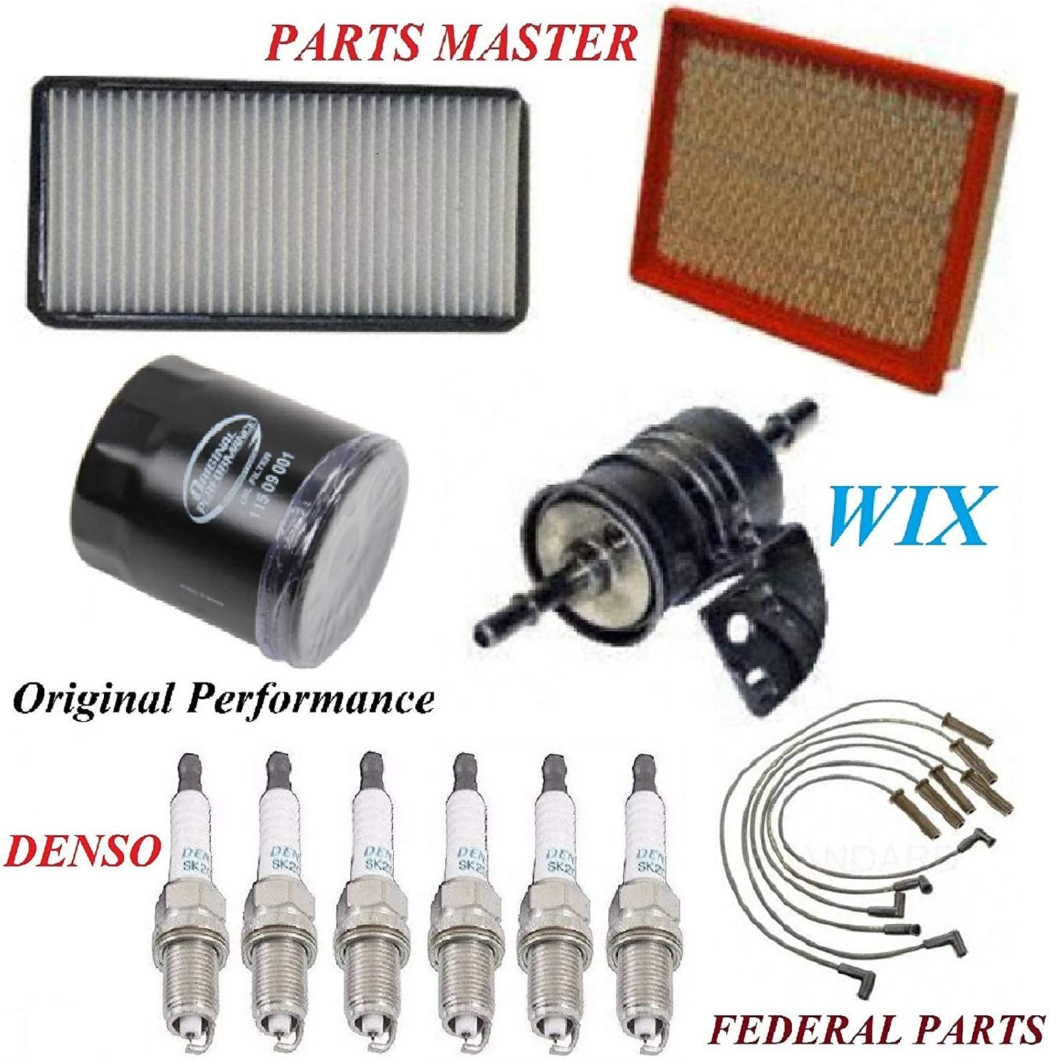 Tune Up Kit Air Cabin Oil Fuel Filters Wire Spark Plug FIT PONTIAC MONTANA V6; 3.4L 2004-2005
