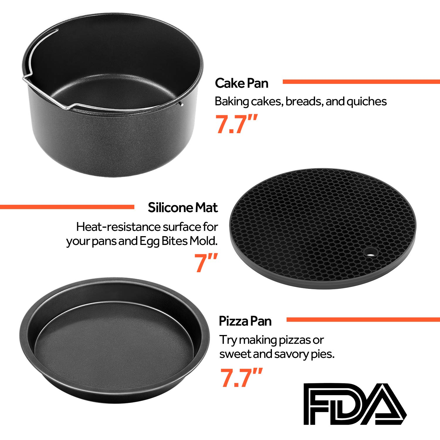 COSORI Air Fryer Accessories XL (C158-6AC), Set of 6 Fit all 5.3Qt, 5.8Qt, 6Qt Air Fryer, FDA Compliant, BPA Free, Dishwasher Safe, Nonstick Coating, 2-Year Warranty by COSORI (Image #4)