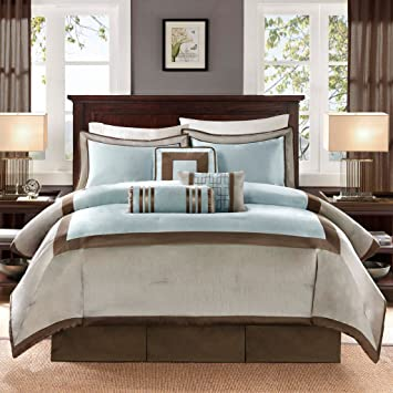 Madison Park Genevieve Queen Size Bag-Auqa, Taupe, 7 Pieces Bedding Sets –  Faux Silk Bedroom Comforters, Blue